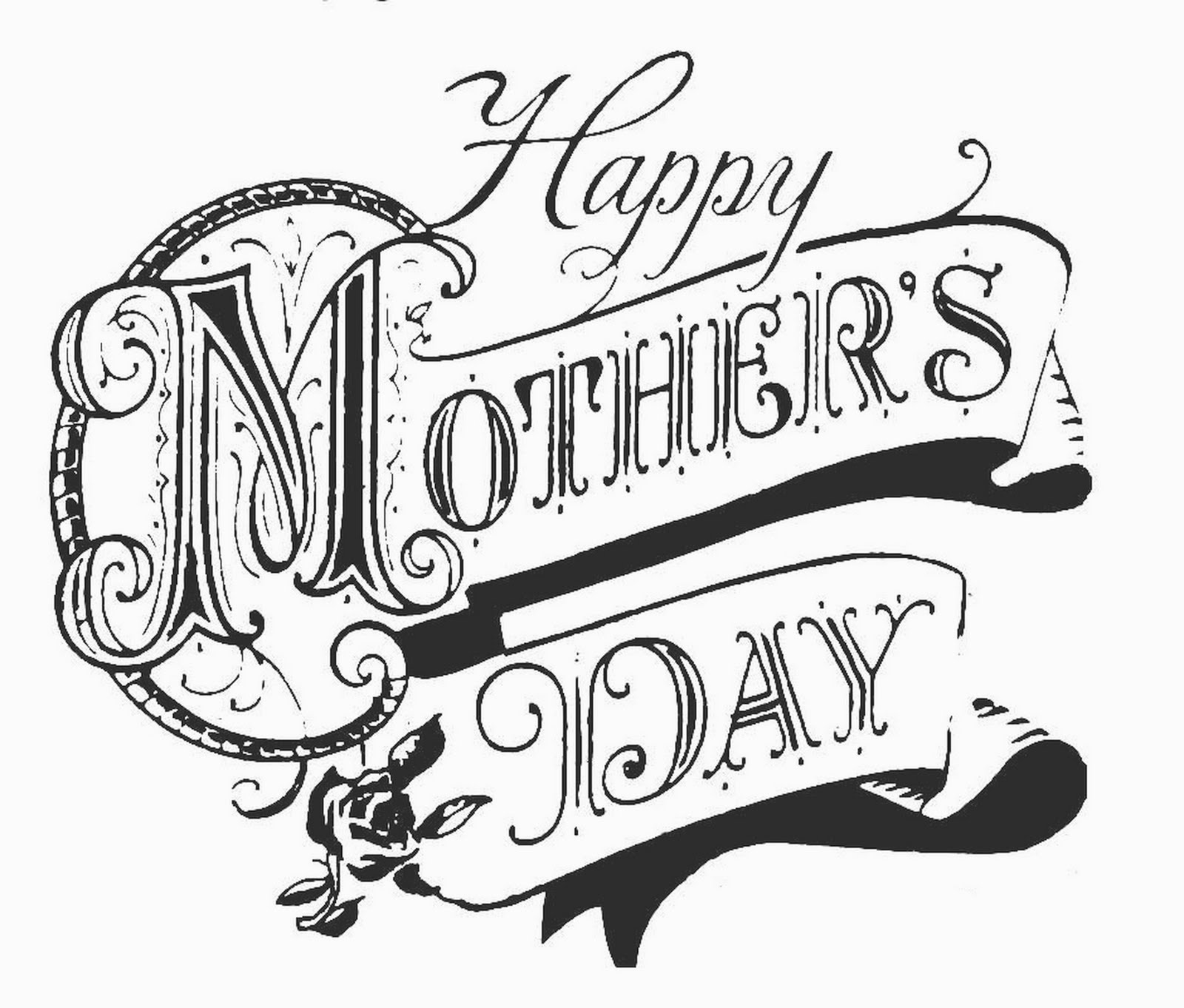 Happy Mother's Day Clip Art Black and White