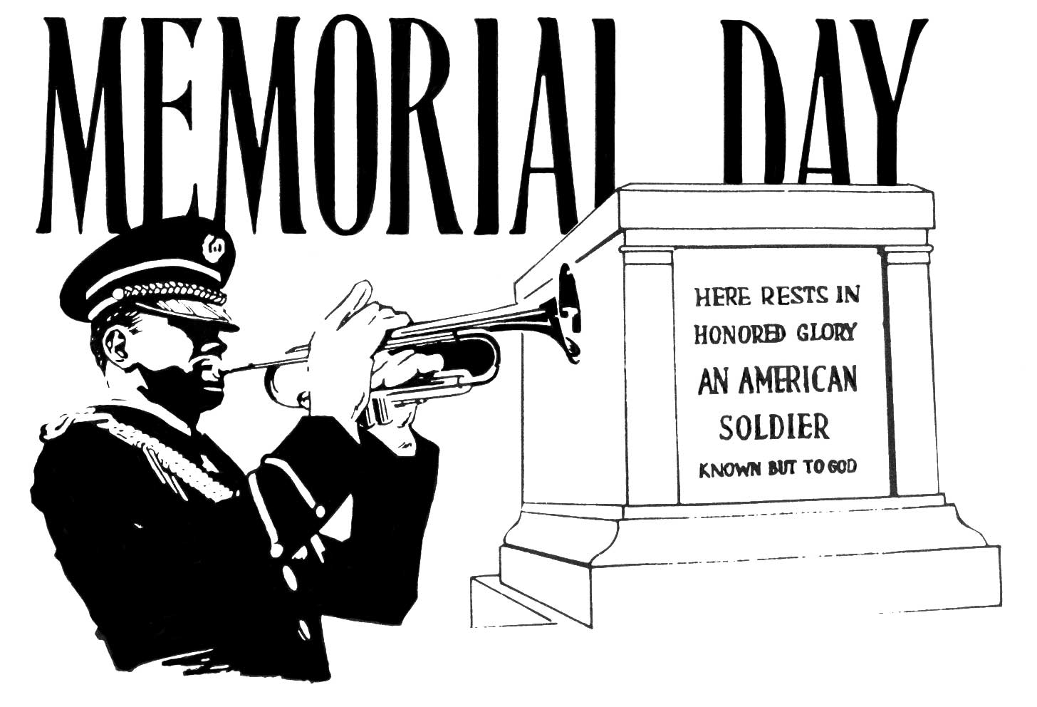 Free Black And White Memorial Day 2020 Clip Art