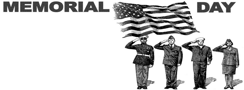 Free Happy Memorial Day 2018 Clip Art Black and White For Facebook Cover
