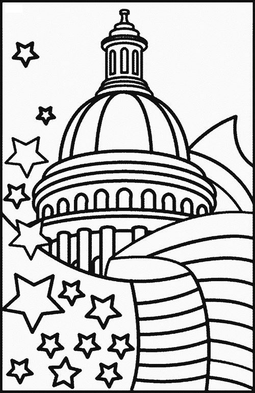 Free American Independence Day Pictures To Colour