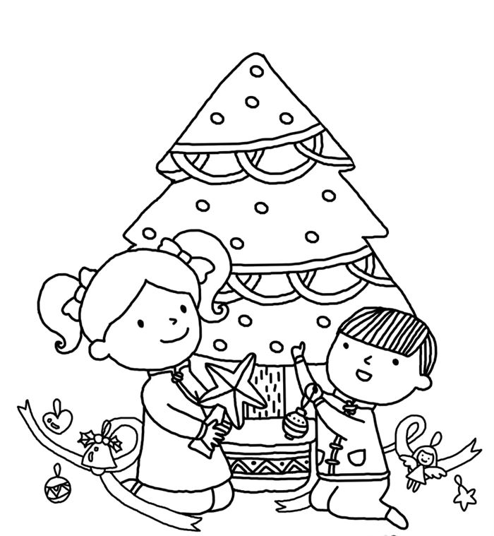 Beautiful Free Christmas Tree Pictures To Color For Kids