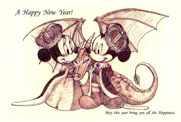 Funny Mickey Mouse Happy New Year Clip Art