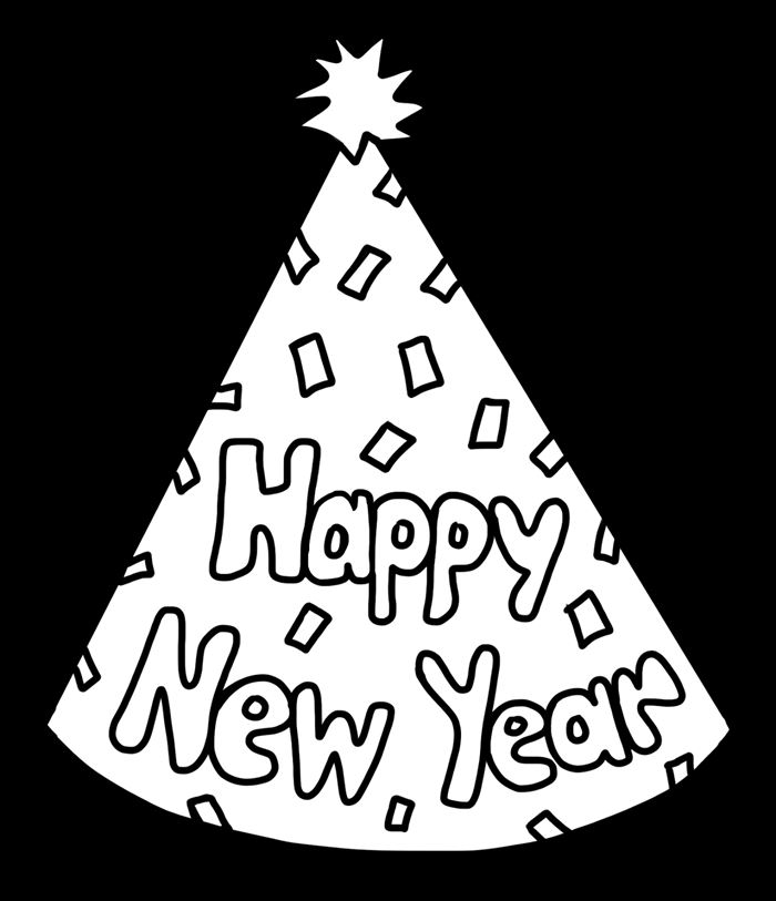 Best Free Happy New Year Clipart Black And White