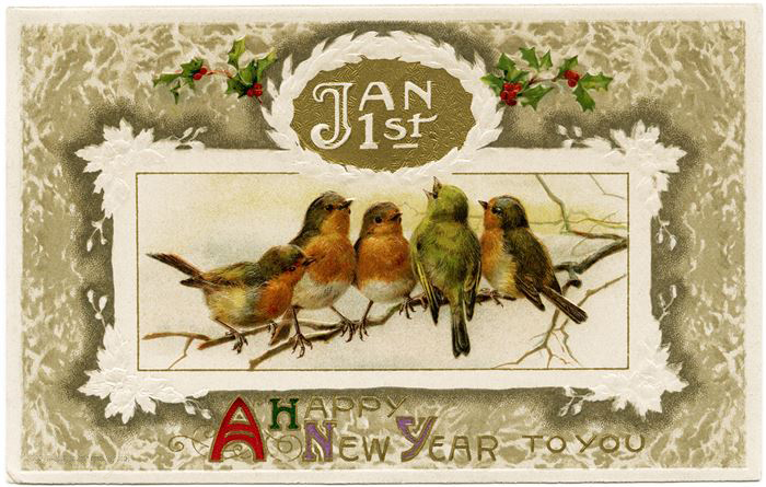Free Beautiful Vintage Happy New Year Clipart