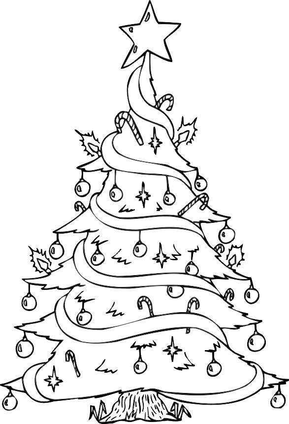 Free Christmas Tree Pictures To Color