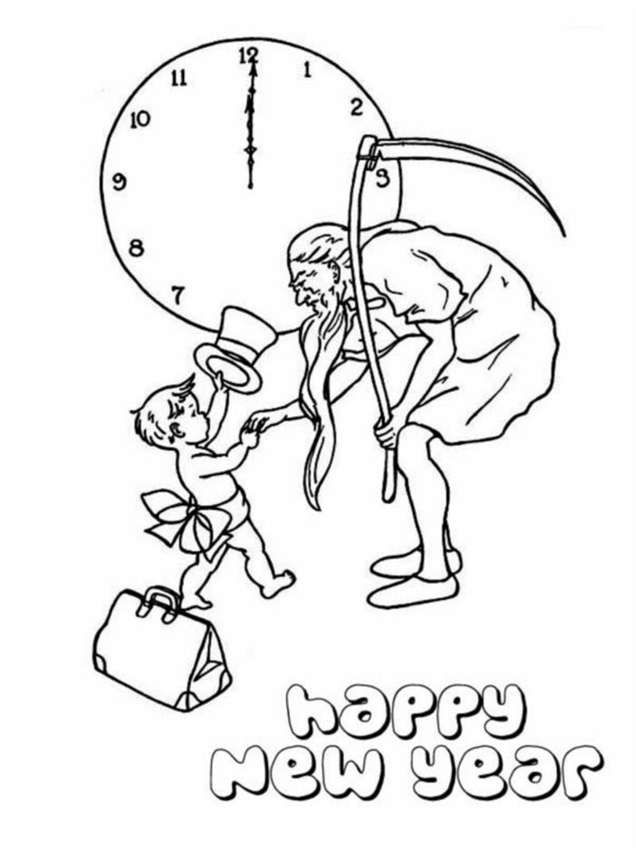 Free Black And White New Years Baby Clip Art