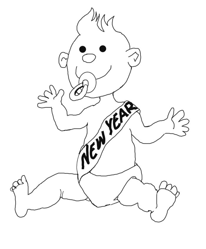 Funny Black And White New Years Baby Clip Art