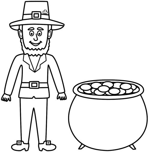Beautiful St. Patrick's Day Clip Art To Color For Kids