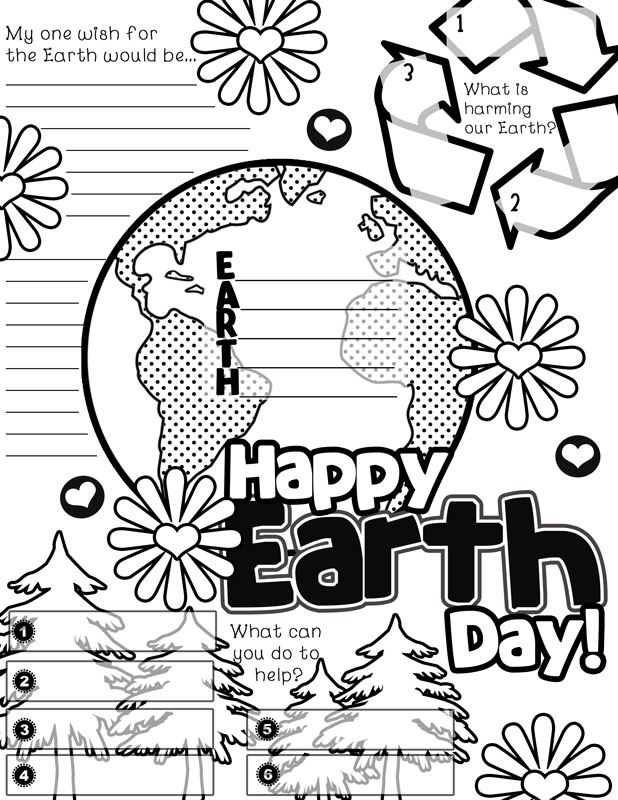 Beautiful Happy Earth Day Posters To Color