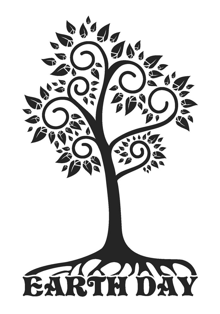 Free Black And White Happy Earth Day Clip Art