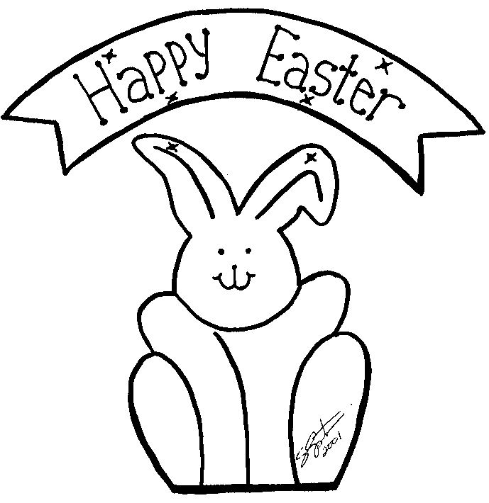 Beautiful Free Easter Bunny Clip Art Color
