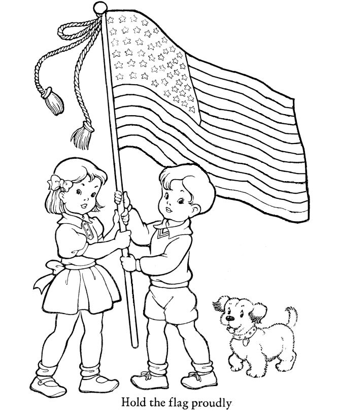 Beautiful Flag Day Coloring Picture For Kids To Print
