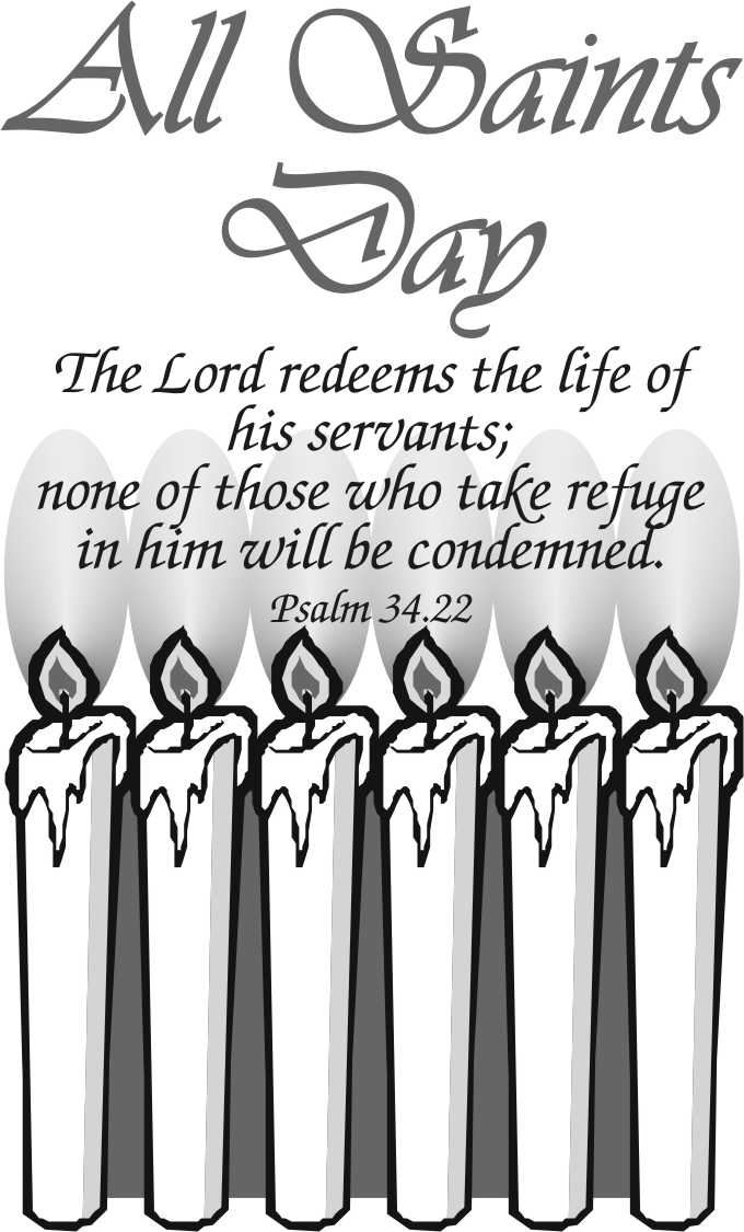 Beautiful All Saints Day Black And White Clip Art