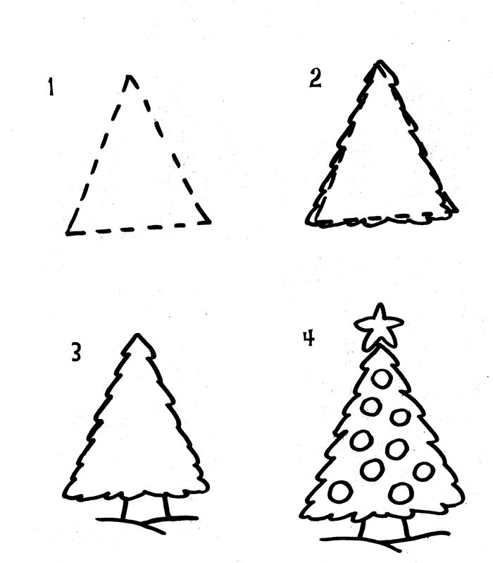 Easy Christmas Tree Pictures To Draw
