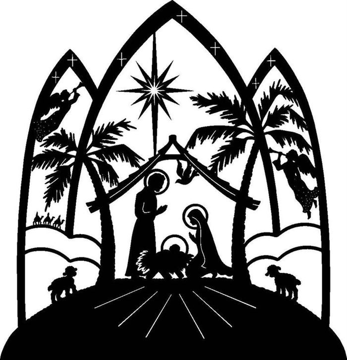 Black And White Religious Christmas Clip Art