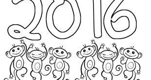 Happy Chinese New Year Monkey Coloring Pages