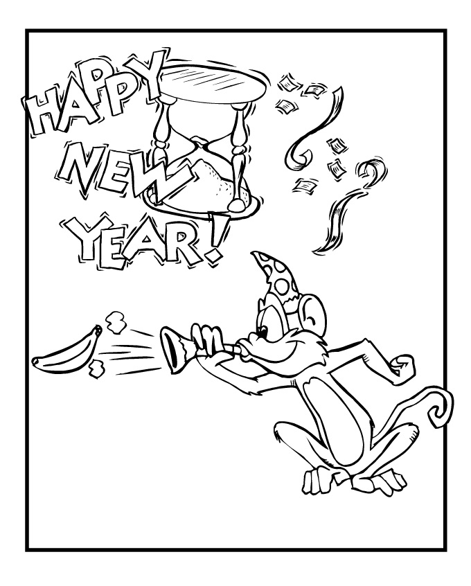 Beautiful Happy Chinese New Year Monkey Coloring Pages