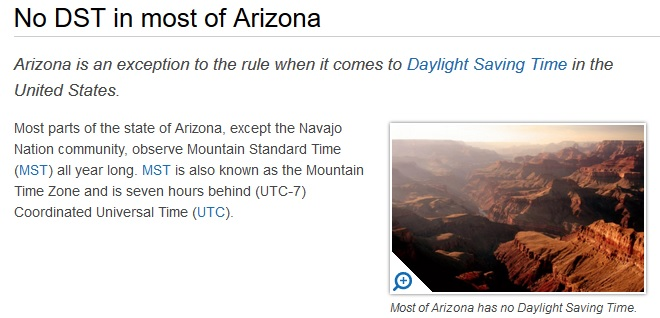 When Does Daylight Savings Time In Arizona USA